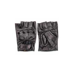 Leather Fingerless Gloves - Black