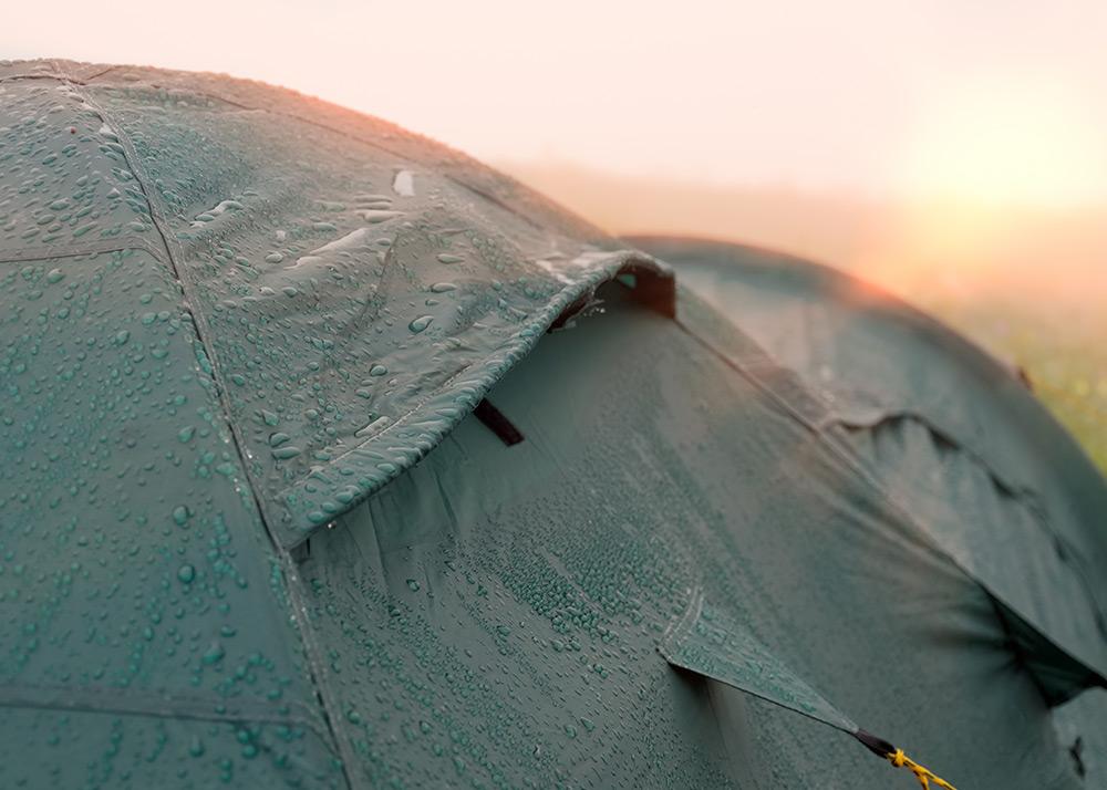 waterproof tent in the rain
