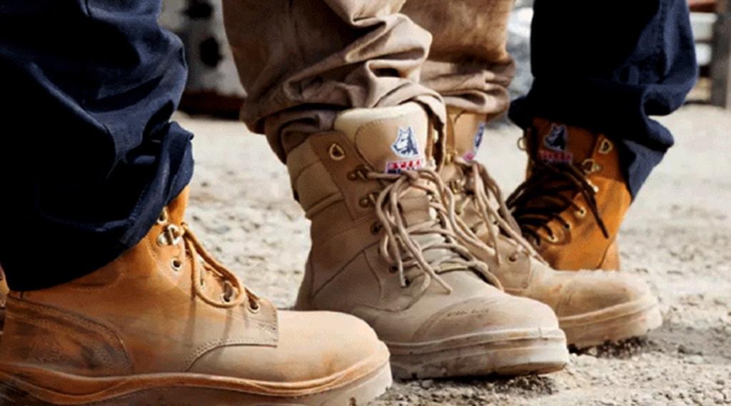 Men wearing steel blue safety boots
