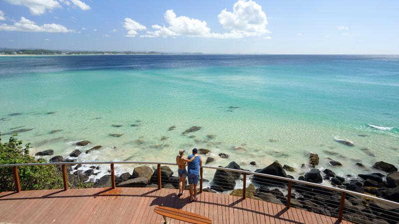 2 tourists enjoying the view in Kirra Beach, Gold Coast