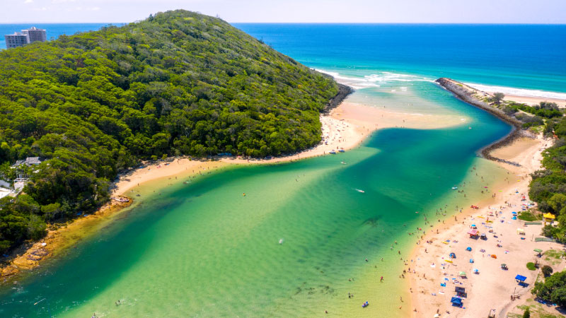 Aerial view of Tallebudgera Creek and the Tallebudgera Holiday Park