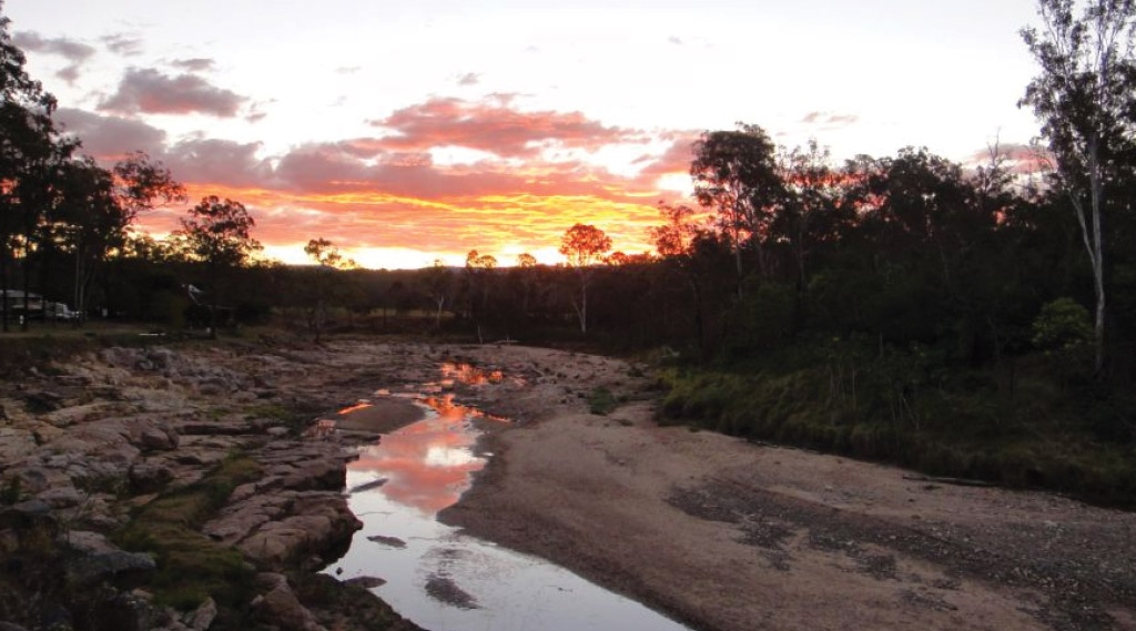 A sunset seen from Murphy's Creek campsite in Toowoomba